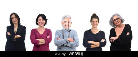 group of women with arms crossed. - Stock Photo