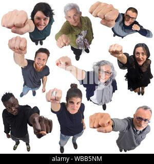 group of people with the fist up. - Stock Photo