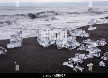 Ice on the Diamond Beach in southeast Iceland. - Stock Photo