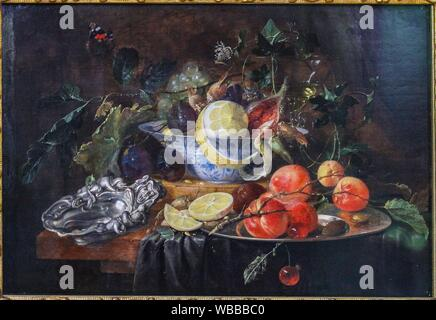 'Still Life with Fruit and Silver Bowl', 1652, by Jan Davidsz de Heem (1606-1684) - Stock Photo