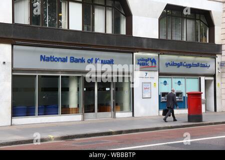 LONDON, UK - JULY 7, 2016: National Bank of Kuwait branch in London. NBK has total assets of USD 79.22 billion. - Stock Photo