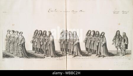 Earles, in number thirty three; Lancaster herald, Richmond herald. Sandford, Francis (1630-1694) (Author). history of the coronation of. James II. - Stock Photo
