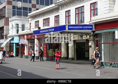 LONDON, UK - JULY 9, 2016: People walk by Farringdon Station in London. London Underground annual entry and exit for Farrington Station amounted to 15 - Stock Photo