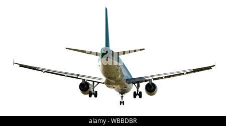 Large passenger plane isolated on white background - Stock Photo