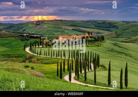 Agriturismo Baccoleno Italy, Italia. Tuscany, Toscana. Crete Senesi. Siena district. Asciano. Tuscany landscape in Siena district. - Stock Photo