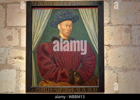 Portrait of Charles VII, King of France (1422-1461), copy of a painting by Jean Fouquet, a Quattrocento painter, Royal House within the Cite Royale - Stock Photo