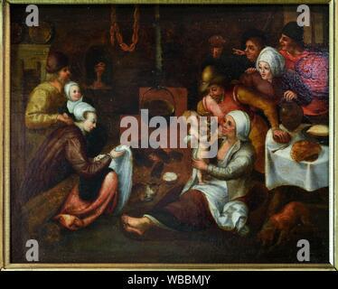'''''La Visite a la nourrice'' tableau attribue a Marten I Van Cleve (1527-1581), Exposition ''Enfants de la Renaissance'', Chateau Royal de Blois, - Stock Photo