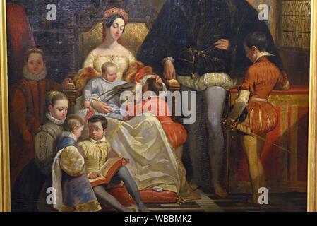 Portrait de famille (Henri II, roi de France et Catherine de Medicis et leurs enfants) par Alfred Johannot (1542-1616), Exposition ''Enfants de la - Stock Photo