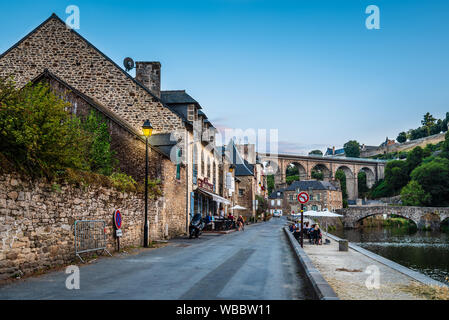 Dinan, France - July 23, 2018: View of the river Rance and the harbour of the city of Dinan, French Brittany - Stock Photo