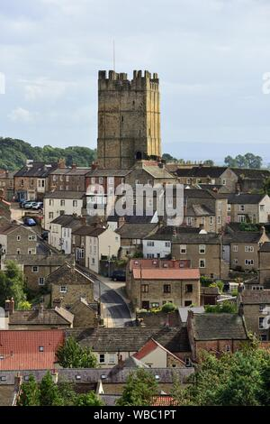 Richmond,North Yorkshire,seen from the Culloden Tower. - Stock Photo
