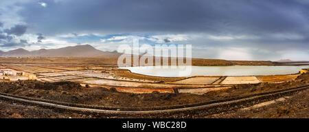 Salinas de Janubio, old salt mining on Lanzarote, Canary Islands, Spain. - Stock Photo