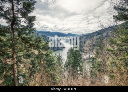 Amazing river doubs on the border of france and switzerland, panorama - Stock Photo