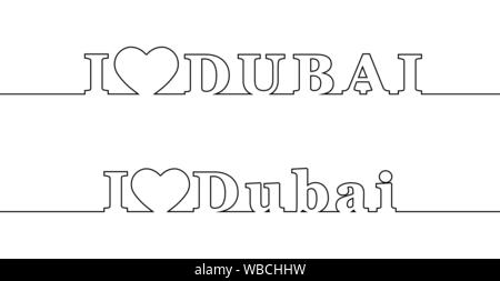 I LOVE DUBAI. Contour line with the name of the city. Uppercase and lowercase letters - Stock Photo