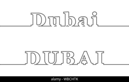 DUBAI. Contour line with the name of the city. Uppercase and lowercase letters - Stock Photo