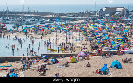 Lyme Regis, Dorset, UK. 26th Aug, 2019. UK Weather: Crowds of beachgoers flock to the seaside of resort of Lyme Regis to bask in the sun another day of scorching hot sunshine and record breaking tenperatures. The beach is packed again as the soaring temperatures are set to make this the hottest August bank holiday since records began.  Credit: Celia McMahon/Alamy Live News - Stock Photo