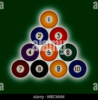 Pool balls numbered 1-10 in a triangle formation on a green background with a hallow glow behind - Stock Photo