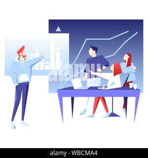 Teamwork business vector flat illustration. Man point on chart. Banner logo template for the website or app infographic. - Stock Photo
