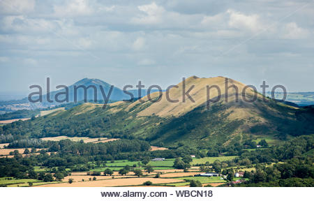 The Wrekin and the Lawley hills viewed from the Long Mynd, Shropshire, England, UK - Stock Photo