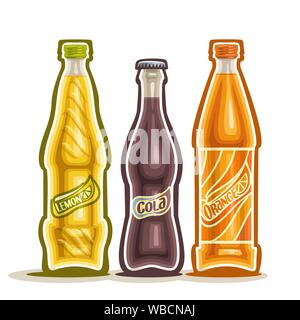 Vector illustration on theme of carbonated drinks, consisting of three closed glass bottles with soda beverages on white background. set of bottles fo - Stock Photo