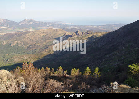 View back to Calvi and the Mediterranean, ascent to Bocca a U Saltu, near Calenzana, France, Corsica, GR20 - Stock Photo