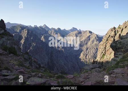 View into Cirque de Bonifatu from Punta Pisciaghia, morning, France, Corsica, GR20 - Stock Photo