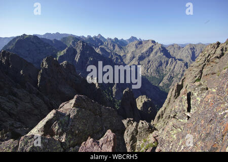 View into Cirque de Bonifatu from Punta Pisciaghia, morning, France, Corsica, GR20 - Stock Photo