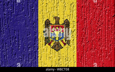 Flag of Moldova close up painted on a cracked wall - Stock Photo