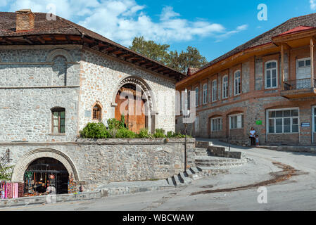 Shaki, Azerbaijan  August 24, 2019 Ancient caravanserai in the old town - Stock Photo