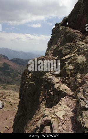 Path in the rock face of Capu Tafunatu, France, Corsica - Stock Photo