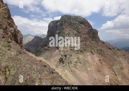 Paglia Orba seen from the rock window of Capu Tafunatu, France, Corsica - Stock Photo