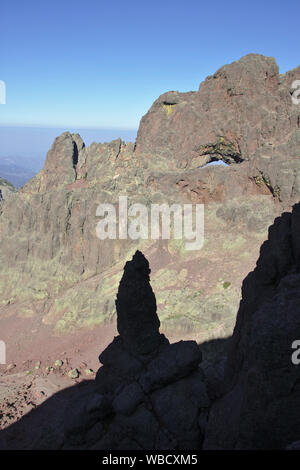 Capu Tafunatu rock window from ascent to Paglia Orba, France, Corsica - Stock Photo