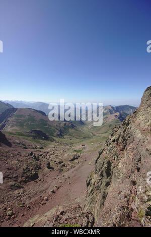 View from capu tafunatu rock window towards refuge, France, Corsica - Stock Photo