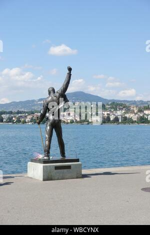 Freddie Mercury Memorial Statue, Montreux, Switzerland - Stock Photo