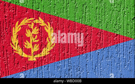 Flag of Eritrea close up painted on a cracked wall - Stock Photo