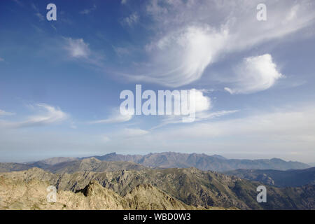 clouds over corsica, view from Monte Rotondo to Paglia Orba and Monte Cinto, France, Corsica - Stock Photo