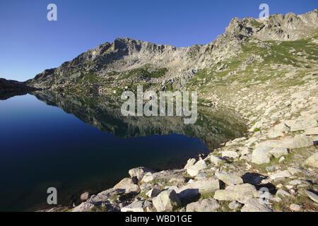 Lac de Bastiani and Monte Renoso, France, Corsica, GR20 - Stock Photo