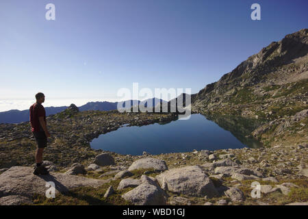 Lac de Bastiani and Monte Renoso, France, Corsica, GR20 - Stock Photo