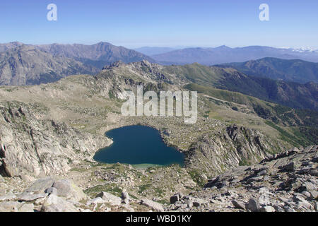 Lac de Bastiani, view from Monte Renoso, France, Corsica - Stock Photo