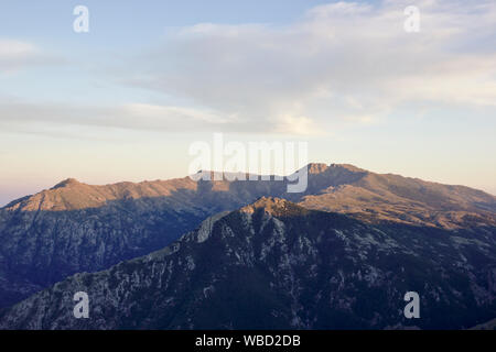 Monte Incudine from Refuge d'Usciolu, evening, France, Corsica, GR20 - Stock Photo
