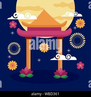 celebration mid autumn festival card - Stock Photo