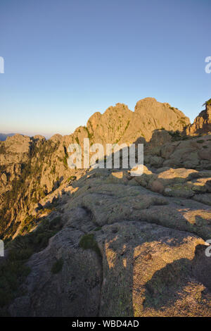 Bavella from Promotoire, morning light, France, Corsica - Stock Photo