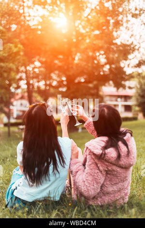 Two young woman celebrating with toast in park - Stock Photo