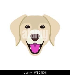 head of cute labrador retriever dog on white background - Stock Photo