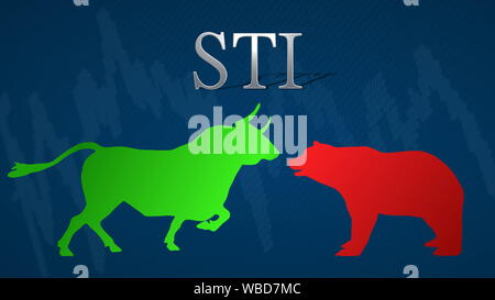 Illustration of a standoff between the market's bulls and bears in the stock market index STI, the Straits Times Index of Singapore. A green bull... - Stock Photo
