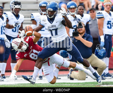 August 24, 2019: Villanova Wildcats defensive back Nowooola Awopetu (17) breaks up a pass intended for Colgate Raiders wide receiver Garrett Oakey (81) during the second half of an NCAA football game on Saturday, Aug., 24, 2019 at Andy Kerr Stadium in Hamilton, New York. Rich Barnes/CSM - Stock Photo