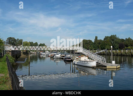 private boats moored on the river thames close to teddington lock, southwest london, england - Stock Photo