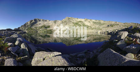 Lac de Bastiani and Monte Renoso, France, Corsica - Stock Photo