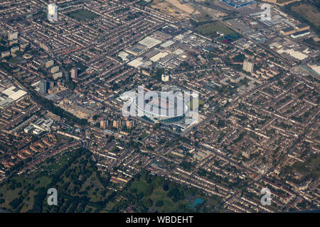 Aerial view of the Tottenham Hotspur Stadium Football Ground in North London, England. - Stock Photo