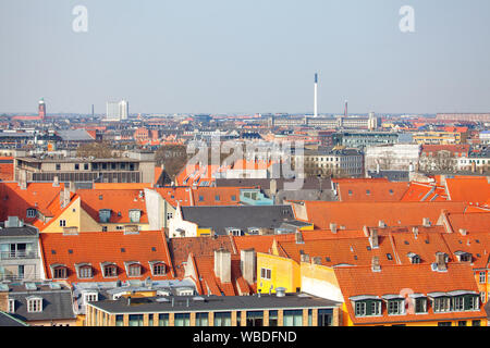 Red tiled roofs of Copenhagen , Denmark - Stock Photo