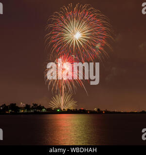 Fireworks Over A Lake - Colorful Fourth of July fireworks light up night sky over Marston Lake, Denver, Colorado, USA. - Stock Photo